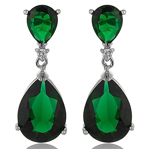 [RIZILIA CELEBOX] Teardrop Dangle Pierced Earrings with Pear Cut CZ [Simulated Green Emerald] in White Gold Plated, Celebrity inspired by Angelina Jolie