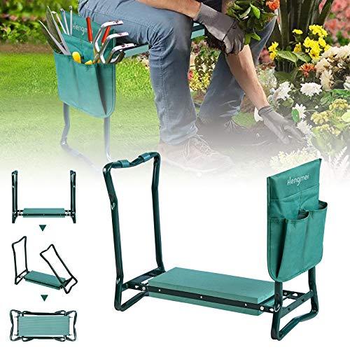 NAIZY Gartenarbeit Kniebank Hocker Klappbar Gartenbank Arbeitshocker Knie Stuhl mit Eva-Schaumkissen und Werkzeugtasche, belastbarkeit bis 150 kg, 59x28x49cm, Grün