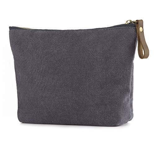 SMRITI Canvas Large Makeup Bag Pouch Purse Cosmetic Organizer for Women (Light grey)