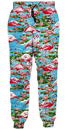 ALISISTER 3D Jogginghose Herren Damen Beiläufig Party Flamingo Graphic Athletic Hose mit Kordelzug Hip Hop Running Gym TrainingshoseWeiß und Schwarz M