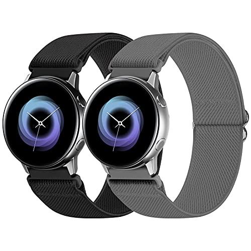 WNIPH 20mm Armband Kompatibel für Samsung Galaxy Watch Active 2 40mm 44mm/Watch 3 41mm/Watch 42mm/Gear S2/Gear S2 Classic/Gear S3 Frontier/Garmin Vivoactive 3/Ticwatch 2,Dehnbar Einstellbar armbänder