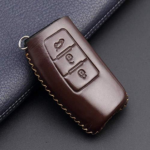 YUFFD Funda para llave de coche Funda de cuero para llave Fob Holder 2 Llave abatible de 3 botones, para Ford Fiesta Focus MK2 Mondeo Kuga Galaxy C-Max S-MaxA Marrón