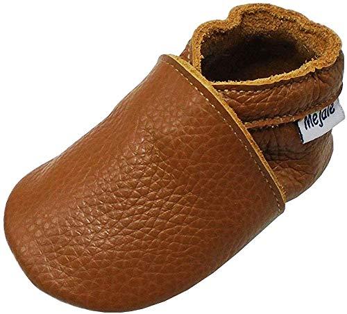 Mejale Baby-Hausschuhe aus weichem Leder, für die ersten Schritte, Braun - braun - Größe: 6-12 mois
