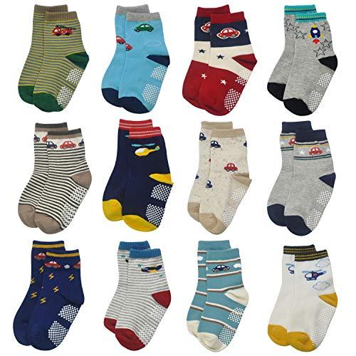 Calcetines antideslizantes para niños pequeños – 12 pares de calcetines para bebés y niños de 1 a 7 años