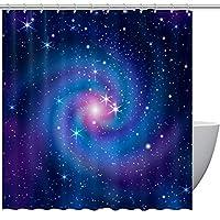 シャワーカーテン 銀河 星空 バスカーテン ROYALLOVE 浴室 バスルーム 防水 防カビ 目隠し用 シンプル 間仕切り 180×180cm
