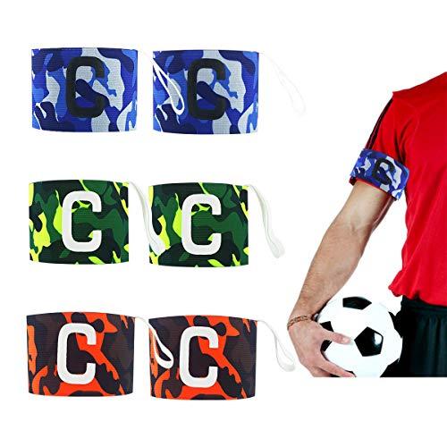 Liwein Fußball Kapitänsbinde, 6 Stück Tarnung Spielführer-armbinde Fußball Captain Armband Junior Erwachsene C Standard Klettverschluss für Verstellbare Größe(Blau Grün Orange)