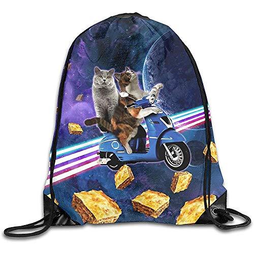 Mochilas con Cordón Cat Riding Scooter Viaje con Space Lazer Galaxy Mochila con Cordón Mochila Deportiva Ligera Bolsa De Deporte Bolsas De Zapatillas