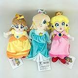 Yijinbo 3 x Princesa Peach Daisy Rosalina Super Mario Bros Peluche Animal Peluche Muñeca Suave 8 pulgadas