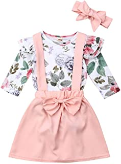 Christmas Baby Girl Long Sleeve Floral Tops+Overalls Strap Dress Outfits Toddler Plaid Clothes