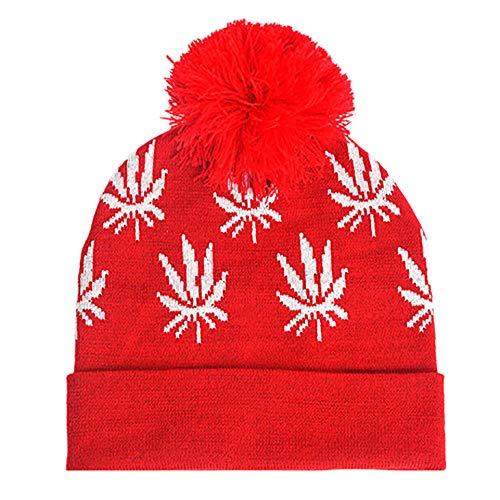 ZZBO Beanie Mütze Wintermütze Damen Xmas Plush Hut Strickmütze Feinstrick Cap Sleeve Warm Mütze...