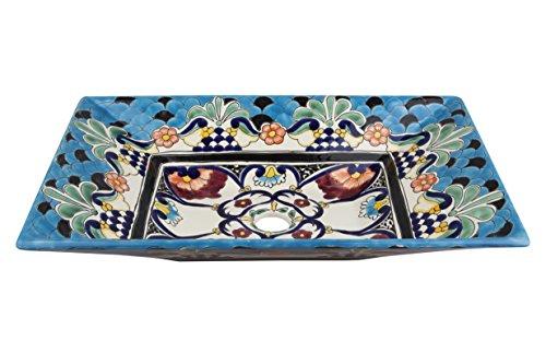 Cerames La Reina - Talavera waschbecken mexikanisch | Aufsatzwaschbecken 55 x 36 x 11 cm | Waschschale aus Mexiko für Badezimmer, rustikale Küche