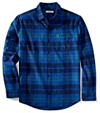 Amazon Essentials - Camisa de franela a cuadros de manga larga y ajuste regular para hombre, Azul (Bright Blue Plaid), US S (EU S)