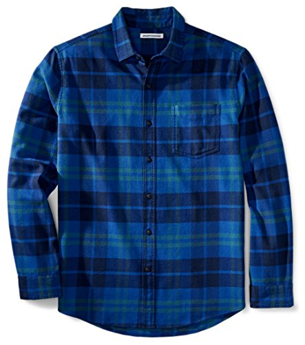 Amazon Essentials Men's Regular-Fit Long-Sleeve Plaid Flannel Shirt, Bright Blue Plaid, XX-Large