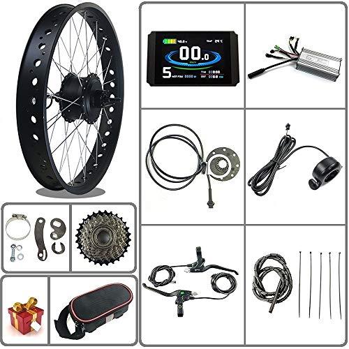 Ricetoo 36V / 48V 500W Kit di conversione bici elettrica per bici da neve / pneumatico grasso Motore del mozzo di rotazione della ruota posteriore da 20/26 pollici con display LCD8H(nero, 20inch)