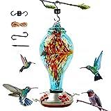Hummingbird Feeder for Outdoors, Hand Blown Glass Hummingbird Feeder,...