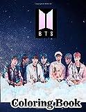BTS Coloring Book: K-pop coloring book of the Korean boy band BTS Featuring Jimin, J-Hope, Jin, RM, Jungkook, Suga & V (BTS coloring books)