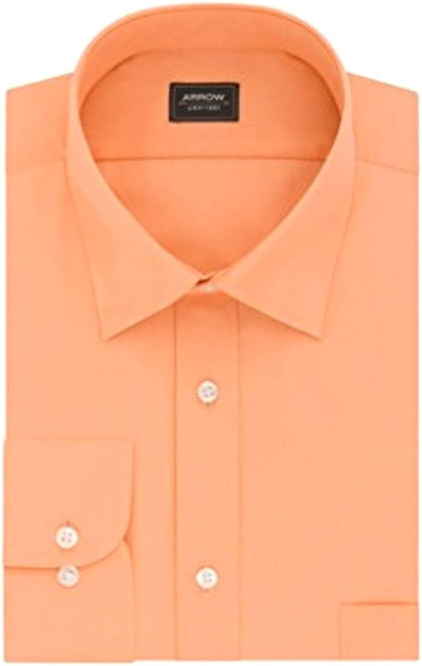 Arrow Men's Athletic Fit Wrinkle Free Solid Spread Collar Dress Shirt