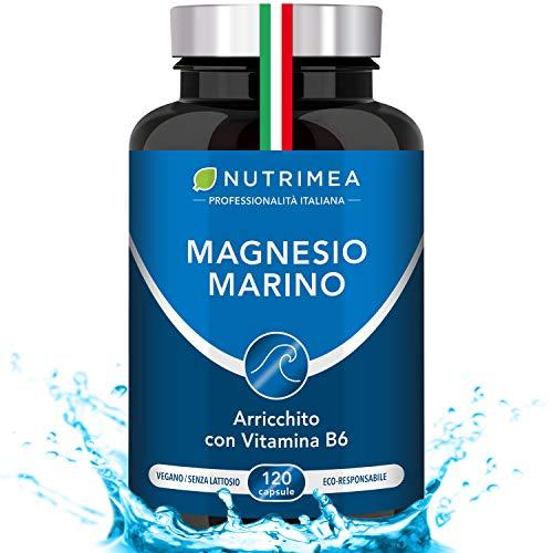 Magnesio Marino e Vitamina B6 | 300 mg al giorno | Combatte FATICA e STRESS | Aumenta le Funzioni Cognitive | Contro i Disturbi del Sonno | 120 capsule di origine vegetale | Senza Glutine | Senza Lattosio | Vegano