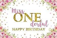 NEW7x5ftミスOnederful背景水彩一年の女の子の誕生日パーティーの写真の背景ハッピー第一最初の誕生日パーティー保育園の活動のベビールームの装飾フォトブースの小道具