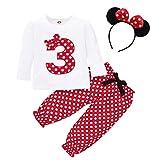 FYMNSI Conjunto de ropa de 3 piezas para bebé o niña, diseño retro de lunares, de algodón de manga larga, camiseta + pantalones largos + diadema para las orejas Rojo 3 2-3 Años