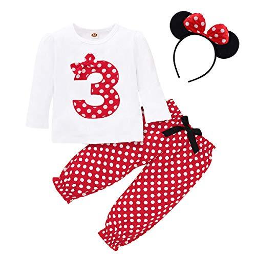 FYMNSI Conjunto de ropa de 3 piezas para beb o nia, diseo retro de lunares, de algodn de manga larga, camiseta + pantalones largos + diadema para las orejas Rojo 3 2-3 Aos