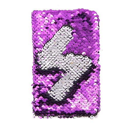 Notizbuch, A6, wendbar, Pailletten, glitzernd, glitzernd, Tagebuch violett