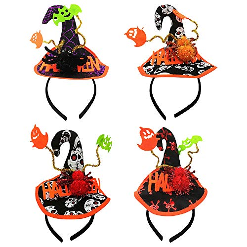 Haarband Stirnband 4 Stücke Haarbänder Haarreif Halloween Stirnbänder Hexenhut Stirnband Kunststoff Haar Stirnband Kostüm Dress up Haarschmuck für Mädchen & Frauen Halloween Party, Feier Dress Up