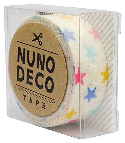 カワグチ KAWAGUCHI カワグチ NUNO DECO TAPE ヌノデコテープ 1.5cm幅 1.2m巻 しろいカラフルスター 11-860