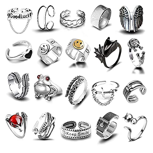 20 Pcs Open Rings Frog Leaf Chain Adjustable Ring for Women Men Girls Punk Vintage Gothic Stackable Ring Jewelry Set