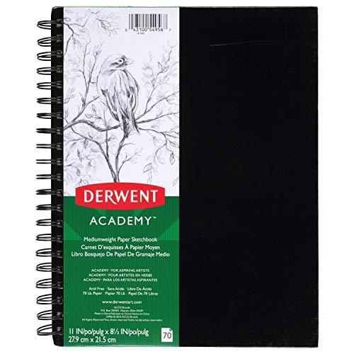 """Derwent Academy Medium Weight Paper Sketchbook, Wirebound, 70 Sheets, 11"""" x 8-1/2"""" (54956)"""