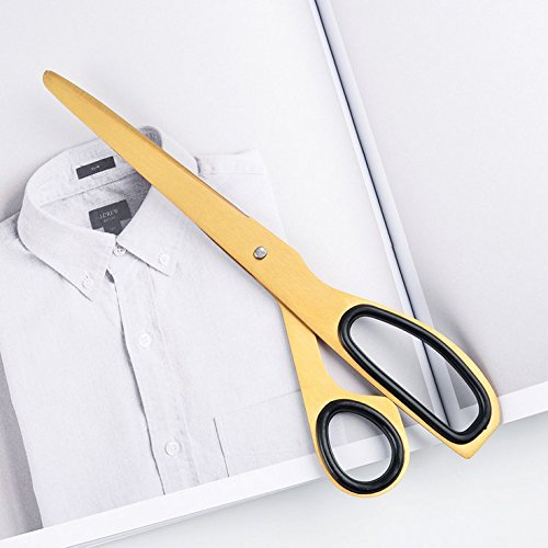 Chris.W 7.8 Inch All-Purpose Ergonomic Scissors for Office/Home Use, Soft Grip Handle (Golden Tone)