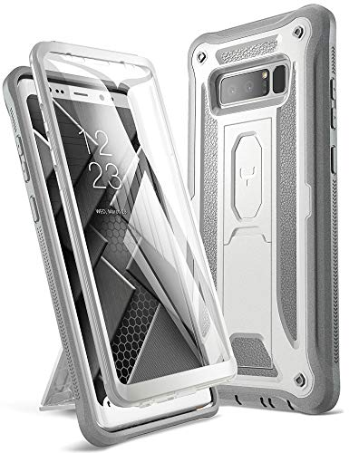 YOUMAKER Kickstand Case for Galaxy Note 8, Full Body with Built-in Screen Protector Heavy Duty Protection Shockproof Rugged Cover for Samsung Galaxy Note 8 (2017) 6.3 Inch - White/Gray