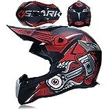 QAZWSオフロードヘルメットオートバイヘルメットレーシングヘルメット大人用オフロード車両DOT屋外フルフェイスオフロード車両用ヘルメットオフロードオートバイヘルメット (S,レッド)