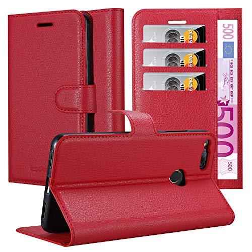 Cadorabo Hülle für ZTE Nubia Z17 Mini in Karmin ROT - Handyhülle mit Magnetverschluss, Standfunktion & Kartenfach - Hülle Cover Schutzhülle Etui Tasche Book Klapp Style