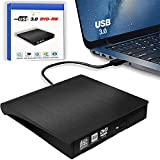 External DVD Drive, USB 3.0 Portable CD/DVD+/-RW Drive/DVD Player for Laptop CD ROM Burner Compatible with Laptop Desktop PC Windows Linux OS Apple Mac Black