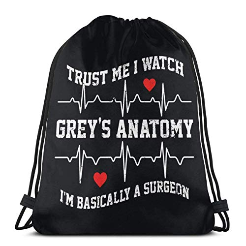 Trust Me I Watch Greys Anatomy - Mochila deportiva con cordón (36 x 43 cm), color gris