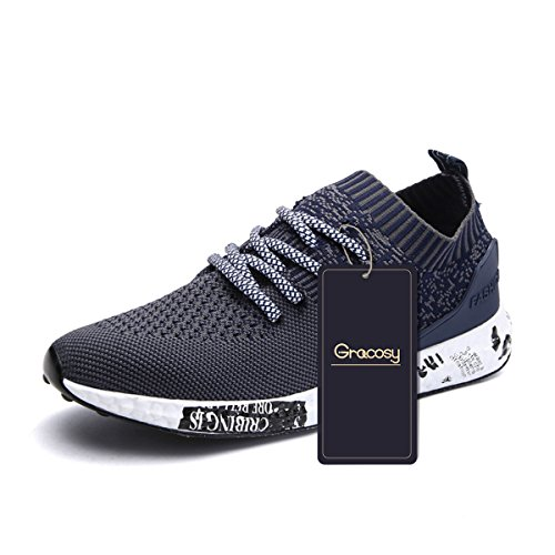 Casual Sport Shoes, Gracosy Men's Lightweight Daily Walking Shoes Athletic Sports Shoes Breathable Fashion Sneakers Grey 44 EU