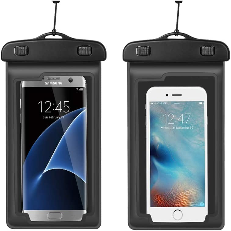 Universal Waterproof Phone Pouch Case Cellphone Dry Bag with Arm Band Neck Strap for iPhone Xs Max X 8 Plus/Samsung Galaxy S10 S9+ S10e / Moto G7 Power/Google Pixel 3 /LG K30,2 Pack (Black)