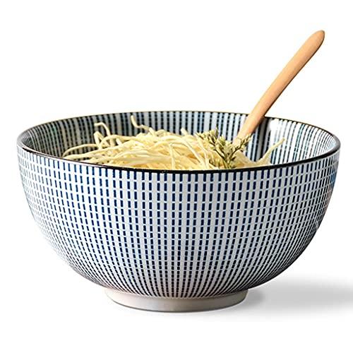 Rice Bowls Bowl Japanese Style Noodle Bowl Household Ceramic Soup Bowl Underglaze Color Annual Ring Retro Style Salad Bowl Bowls (Color : Blue, Size : 20.5 * 20.5 * 8.5cm)