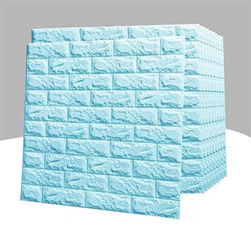 Schaum-Brett Tapete Selbstklebende 3D Dreidimensionale Muster Tapete Scrubable Schlafzimmer Warm Dekoration Aufkleber (10 Stück) (Color : Blue)