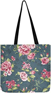 Classic Wallpaper Seamless Vintage Flower Pattern Canvas Tote Handbag Shoulder Bag Crossbody Bags Purses for Men and Women...
