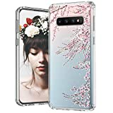 MOSNOVO Galaxy S10 Case, Cherry Blossom Floral Flower Printed Clear Design Transparent Plastic Hard Back Case with TPU Bumper Protective Case Cover for Samsung Galaxy S10