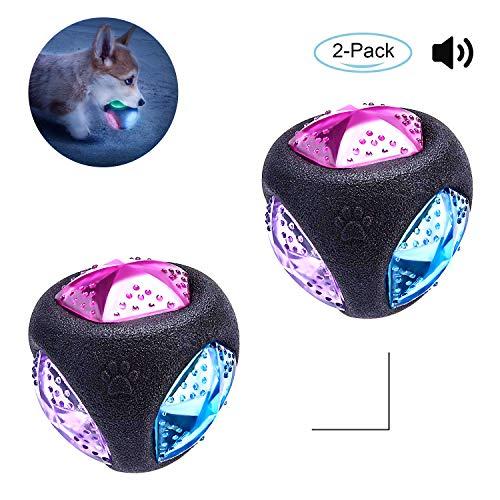 PEDOMUS Hundespielzeug Ball mit LED Licht und Squeaker,Hundeball Hundebälle, Spielzeug für Hunde, Spielball für Hunde, leuchtet in wechselnden Farben, aus thermoplastischem Gummi. Ø 7,6 cm (2er Pack)