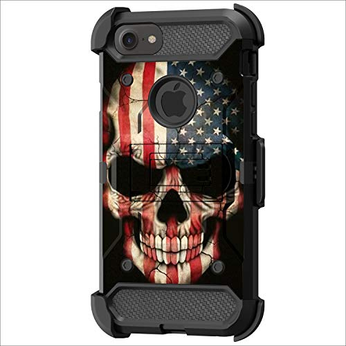 TurtleArmor | Kompatibel mit Apple iPhone SE 2 Hülle (2020) | Apple iPhone XE Hülle [Armor Pro] Ganzkörperschutz Armor Hybrid Kickstand Rugged Holster Gürtelclip Case - US-Flagge Totenkopf