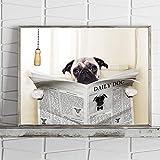 RQJOPE Dekorative Malerei Mops Hund Auf Toilette und Lesen