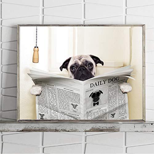 GUDOJK wandmalereien Mops Hund Auf Toilette und Lesen Magazin Eine Pause Lustige Leinwand Poster Bad Wc Wandkunst Dekor Leinwand Malerei-50x70 cm