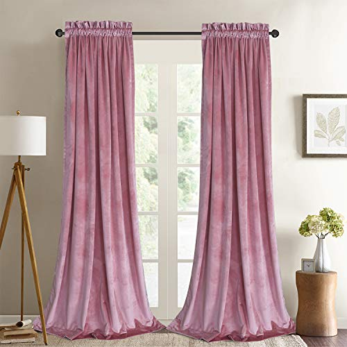 Roslynwood Velvet Curtain Panels Blush Room Darkening Window Super Soft Luxury Drapes for Bedroom Thermal Insulated Rod Pocket Curtain for Living Room (2 Panels, 52 by 63 Inch)