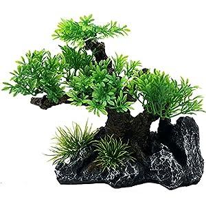 Artificial 19.5cm Green Bonsai Tree Plant For Aquarium Ornament Aquatic Model Decoration Fish Tank Marine Decor Ornaments