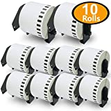 BETCKEY - Compatible DK-2205 Continuous Length 2-3/7' x 100'(62mm x 30.48m) Replacement Labels,Compatible with Brother QL Label Printers [10 Rolls with Refillable Cartridge Frame]