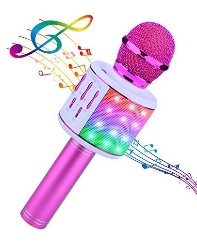 ShinePick Microfono Karaoke Bluetooth, 5 en1 Microfono Karaoke Portatil con Baile de Luces LED para Niños Cantar, Función de Eco,Compatible con PC, AUX o Android/iOS Teléfono Inteligente (Púrpura)